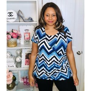 Chevron Print Blue & White 2x Plus Size